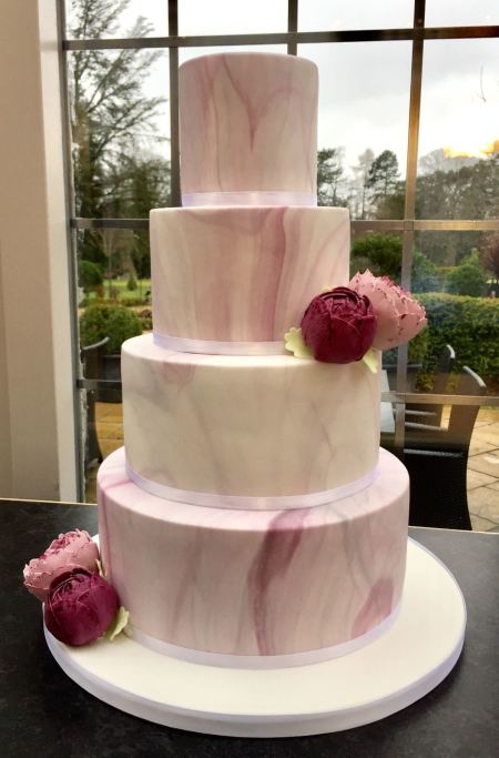 Marble Wedding Cake in Lilac's